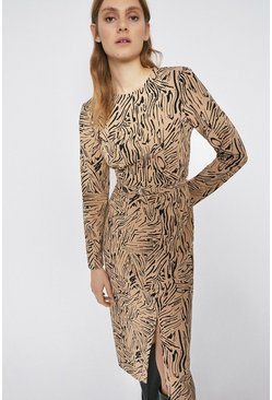 Black Abstract Animal D Ring Detail Shift Dress