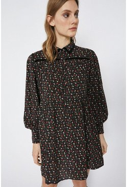 Black Ditsy Print Mini Shirt Dress