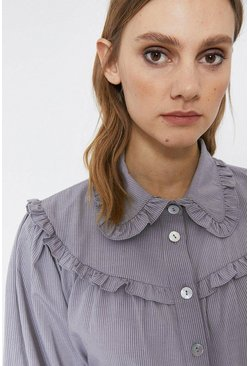 Grey Patterned Ruffle Detail Shirt