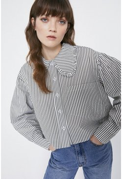 Khaki Striped Ruffle Collar Shirt