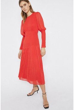 Red Pleated Hem Detail Midi Dress
