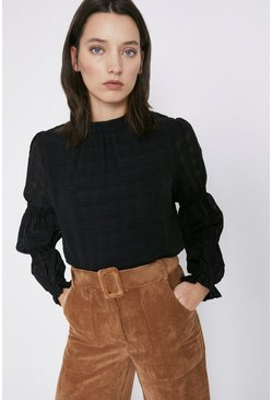 Black Textured Check Tiered Sleeve Top