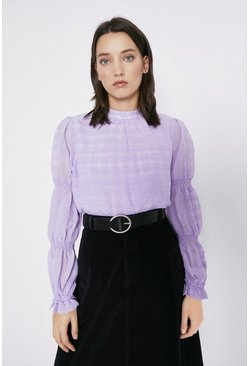 Lilac Textured Check Tiered Sleeve Top