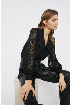 Black Floral Jacquard Collar Detail Blouse