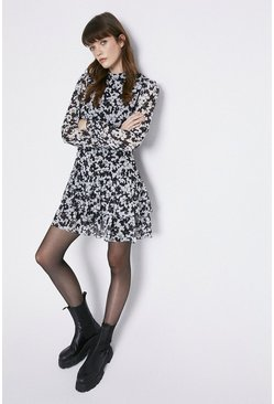 Mono Printed Long Sleeve Tiered Dress