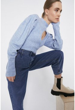 Pale blue Cut Out Puff Sleeve Cropped Jumper