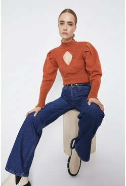 Rust Cut Out Puff Sleeve Cropped Jumper