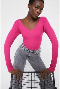 Hot pink Cross Back Ribbed Top
