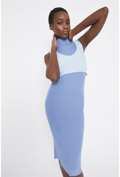Blue Layered Rib Knitted Midi Dress