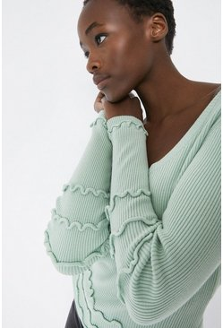 Mint Open Back Stitch Detail Ribbed Jumper