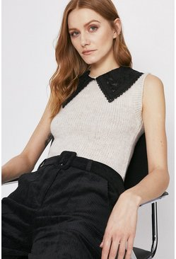Ecru Cosy Tank With Oversized Collar