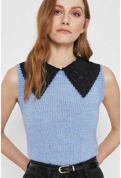 Pale blue Cosy Tank With Oversized Collar