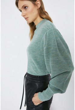 Green Puff Sleeve Soft Rib Jumper