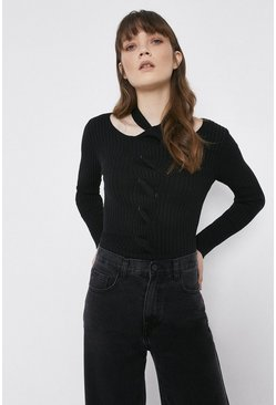 Black Cable Twist Ribbed Jumper