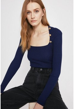 Navy Square Neck Button Detail Top
