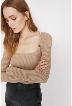 Oatmeal Square Neck Button Detail Top