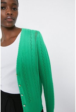 Bright green Cable Pointelle V Neck Cardigan