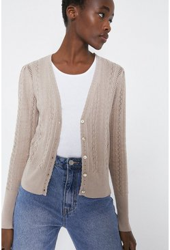 Ivory Cable Pointelle V Neck Cardigan
