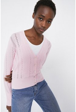 Pale pink Cable Pointelle V Neck Cardigan