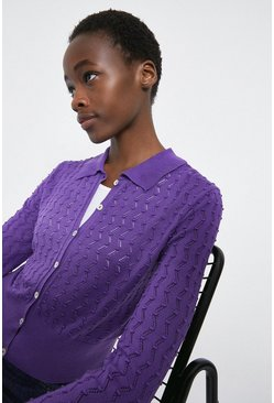 Purple Zig Zag Stitch Collared Cardigan