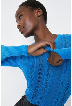 Blue Cable Pointelle Crew Neck Jumper