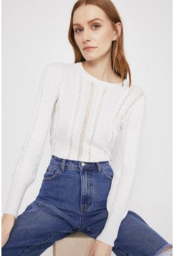 Ivory Cable Pointelle Crew Neck Jumper