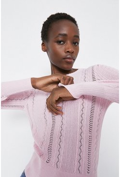 Pale pink Cable Pointelle Crew Neck Jumper