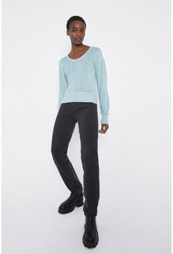 Aqua Zig Zag Stitch Scoop Neck Jumper