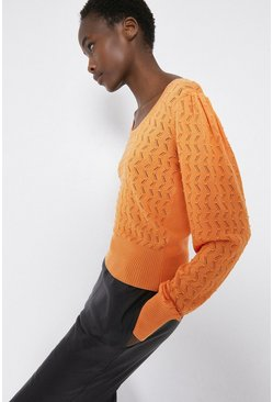 Orange Zig Zag Stitch Scoop Neck Jumper