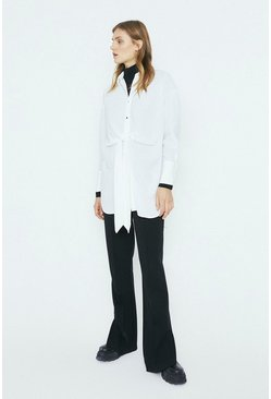 Ivory Tie Front Oversized Shirt