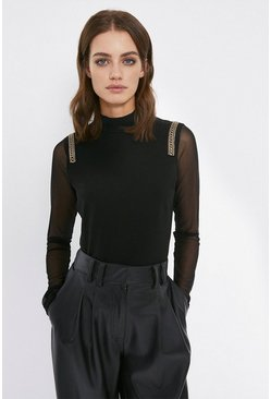 Black Chain Detail Ponte Sleeve Top