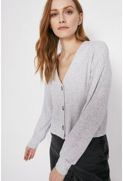 Grey Relaxed Rib Cardigan