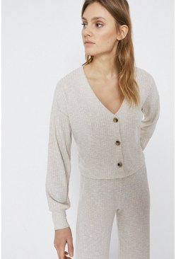 Natural Relaxed Rib Cardigan