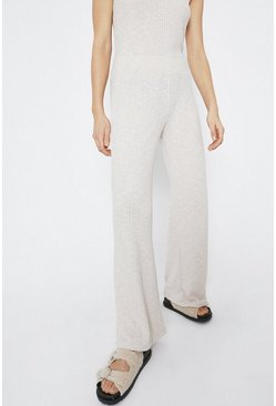Natural Relaxed Rib Wide Leg Trouser