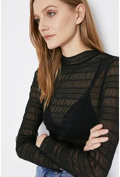 Black Shirred Mesh Funnel Neck Top