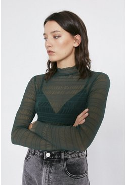 Dark green Shirred Mesh Funnel Neck Top
