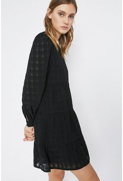 Black Textured Check Mini Dress