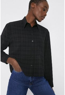 Black Self Check Pocket Front Shirt