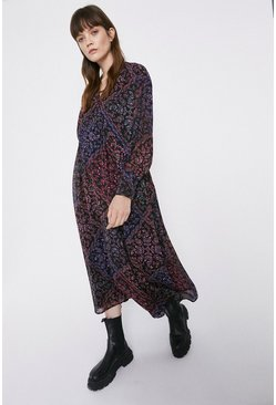 Multi Paisley Scarf Print Trapeze Dress
