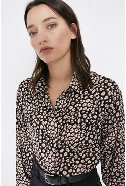 Animal Print Concealed Placket Shirt