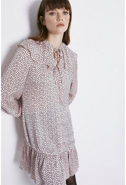 Pale pink Spot Print Collar Detail Dress