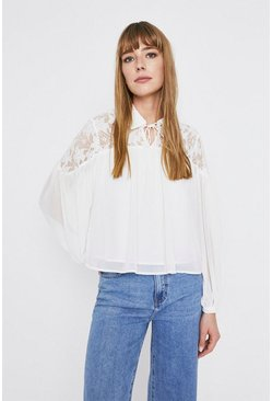 Ivory Lace Yoke Tie Neck Blouse