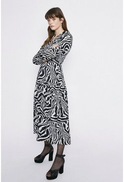 Blackwhite Zebra Print Tiered Shirt Dress