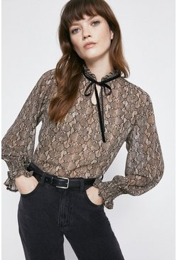 Snake Contrast Tie Detail Blouse