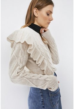 Oatmeal Cable Frill Jumper