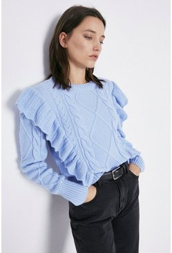 Pale blue Cable Frill Jumper