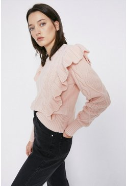 Pale pink Cable Frill Jumper
