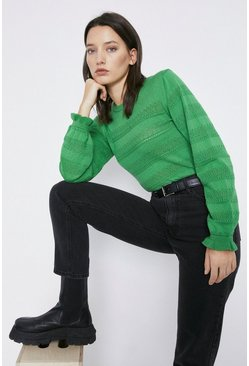 Green Pretty Stitch Stripe Jumper