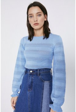 Pale blue Pretty Stitch Stripe Jumper