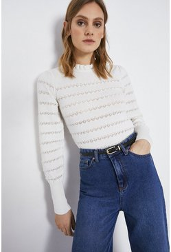 Ivory Stripe Pointelle Ruffle Neck Jumper